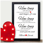 How Long Will I Love You PERSONALISED Keepsake Poem Christmas Gifts Couples Xmas