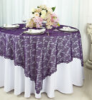 """Wedding Linens Inc. 72"""" Square Lace Table Overlays Toppers Tablecloths Linens"""