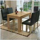 Natural Wood Dining Table and 4 X Black Faux Leather Chairs Home Kitchen Living