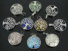 Natural Gemstone Reiki Chakra Tree of Life Round Pendant Charms Silver Plated