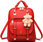 Women PU Leather Shoulder Bag Backpack Girl School Travel Rucksack Purse Bookbag