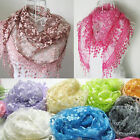 Women Lace Tassel Rose Floral Knit Mantilla Triangle Hollow Scarf Shawl Wraps PO