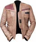 Mens Star Wars The Force Awakens John Boyega Finn Mens Beige Real Leather Jacket £109.99 GBP