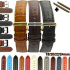 18 20 22 24mm Men's Genuine 100% Leather Black Brown Watch Strap Band Buckle image