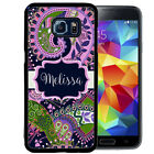 MONOGRAMMED RUBBER CASE FOR SAMSUNG NOTE 8 5 4 3 PURPLE GREEN PAISLEY