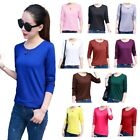 Basic Long Sleeve Solid Top Lady's Plain T-Shirt Stretch Tight Crew Neck Blouses