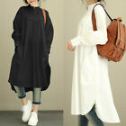 ZANZEA US M-5XL Plus Womens Long Sleeve Baggy Loose Casual Shirt Dress Kaftan