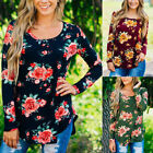 Women's Floral O-Neck Long Sleeve T-Shirt Casual Flowers Fur Top Tee Blouse