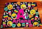 Personalized Initial emoji inspired blanket,  Pizza,  hearts,  rainbows,  ice cream