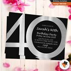 Personalised classic silver birthday party invitations invites 21st 30th 40th