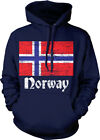 Norway Flag Distressed Old Font Norwegian Country From NOR NO Hoodie Sweatshirt