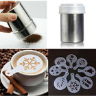 Stainless Steel Chocolate Shaker Duster+8pcs Cappuccino Coffee Barista Stencils