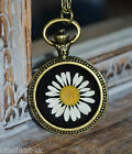 Real Daisy Necklace in black resin in round bronze setting - Flower Jewellery
