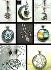 PAGAN PENTACLE CRESCENT MOON HARE FERTILITY GODDESS CHARM NECKLACE EARRINGS
