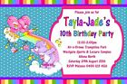Care Bears Rainbow Design Girls Kids Personalised Birthday Party Invitations