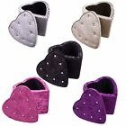 Heart Footstool Crushed Velvet Fabric Storage Ottoman Box Diamante Buttons