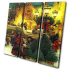 Traditional Painted Scene Christmas TREBLE CANVAS WALL ART Picture Print