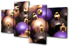 Baubles Decorations Christmas MULTI CANVAS WALL ART Picture Print