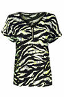 Ladies Ex-M&5 Cap Sleeve Front Zip Tiger Print T-Shirt - SALE Now Only £3.99