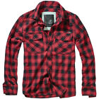 Brandit Great Creek Check Shirt Mens Plaid Casual Cotton Long Sleeve Red Black