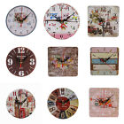 HK- Wooden Large Round/Square Analog Wall Clock Home Office Art Decor Gift Spiri