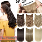 US 100% New Headband Wire in Long Human Hair Extensions Curly Straight 95-115g T