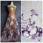 Hot fashion style mixed color heavy emboidery lace fabric for dress fabric