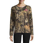 Mossy Oak Ladies Performance Long Sleeve Tee in Camo with Pink Logo NWT