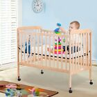 Convertible Pine Wood Baby Infant Sleep Bassinet Bed Kids Crib Bed Safety Rails