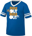 Suns Out Guns Out Muscles Arms Biceps Beach Palm Trees Men's V-Neck Ringer Tee
