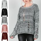 Womens Chunky Cable Knit Oversized Ripped Ladies Distress Destroyed Baggy Jumper