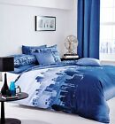 Catherine Lansfield Blue City Scape New York Skyline Duvet Set S/D/K