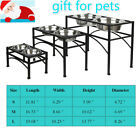 Pets Dog Cat Double Diner Stand Bowl Raised Elevated Stand Feeder+2 steel bowl
