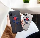 Luxury Fashion Embroidery Rose Flower Leather Case Cover iPhone8 X 7 7Plus 6 6s