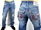 True Religion Hand Picked Ripped/Patched Straight Mega Super T Jeans - MNR859ETB