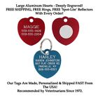 LARGE HEART Dog Cat Pet ID Name Tags Custom Engraved Tag up to 5 lines FREE SHIP