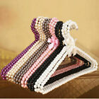 US 10Pcs Bearing Clothes Coat Pearls Bow Hanger Rack For Adult Size 40x23cm NEW