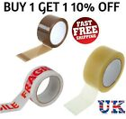 STRONG PACKING TAPE - BROWN / CLEAR / FRAGILE 48mm x 66mm Rolls PARCEL TAPE