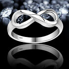 Women 925 Sterling Ring Silver Plated Infinity Ring Endless Love Symbol Ring