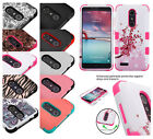 For ZTE Phone Tough Armor HYBRID Rubber Rugged TPU Shockproof Protect Case Cover