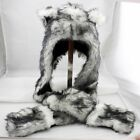 3 in 1 Function White Wolf Animal Faux Fur Hood Hoodie Hat Scarfs Mittens Ears