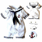 Cute Newborn Baby Boy Girl Anchor Sailor Costume Romper Bodysuit Jumpsuit Outfit