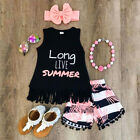 Toddler Kids Baby Girl Vest Tops T shirt+Short Pants+Headband Outfit Set Clothes