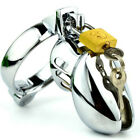 Male Chastity Cage Lock Cock Locking Device Three Rings A349