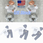 US Newborn Infant Baby Toddler Suits Clothes Boys Grey White Hat Tops Pants Sets