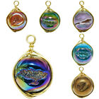 Titanium Coated Round Drusy Angel Aura Crystal Agate Geode Wire Wrapped Pendant