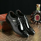 Mens Leather Shoes Pointy Toe Carved Business Formal Wedding Dress Lace Up