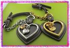JUICY COUTURE Lether Heart KEYFOB HANDBAG Charm Chain Nwotag BROWN Silver,  GOLD