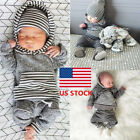 Newborn Baby Boy Girl Striped Hoodie Romper Long Pants Outfits Clothes 0-24M Set