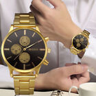 Fashion Luxury Analog Mens Watch Gold Stainless Steel Quartz Wrist Watch Cheap image